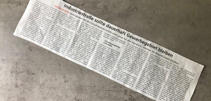 Zeitungsartikel Gewerbegebiet Industriestraße